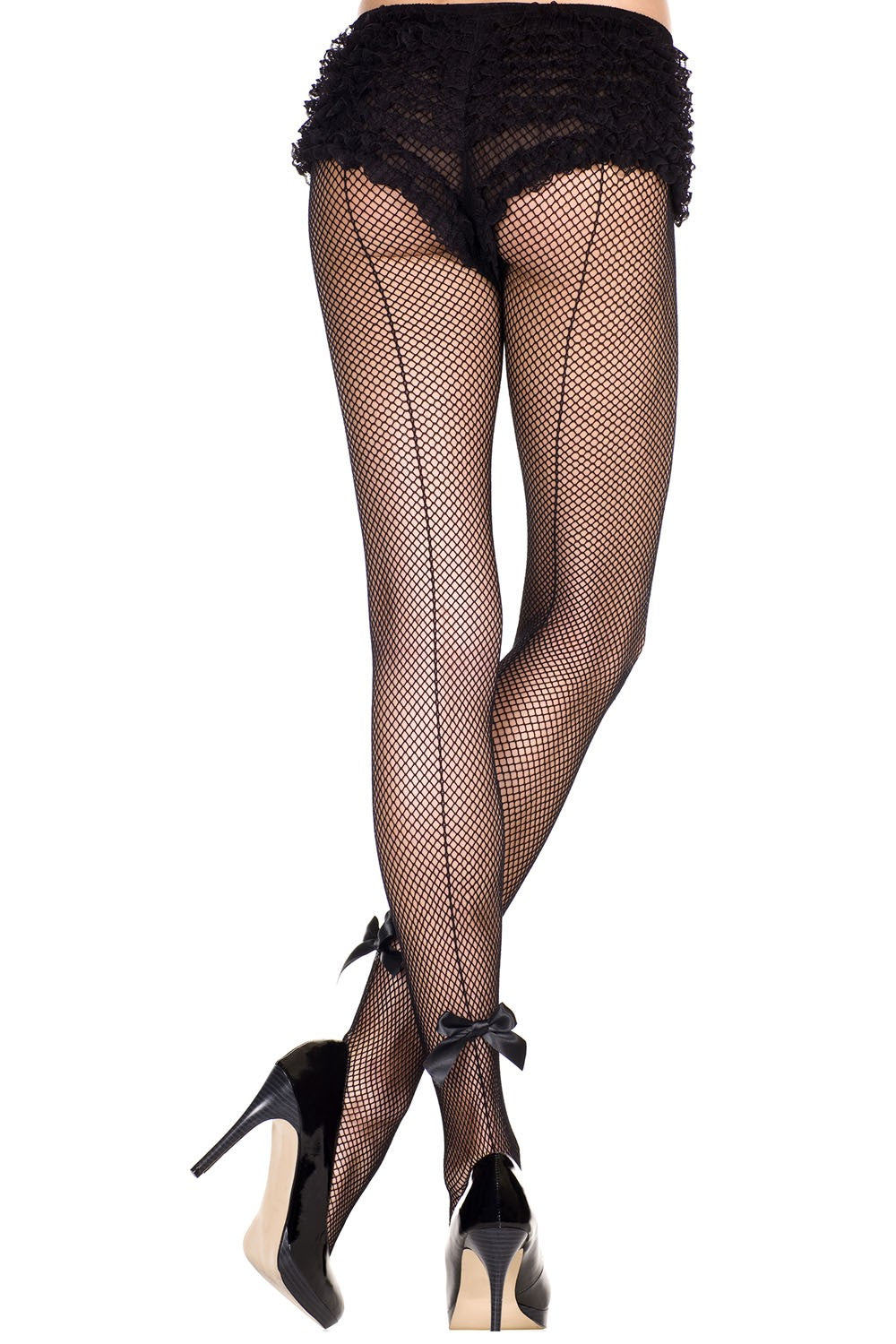 Music Legs 925 Fishnet Back Seam Pantyhose with Satin Bow