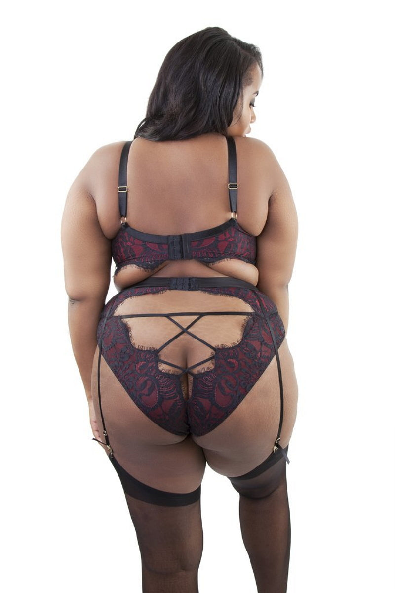 Playful Promises PPCCSB2023 Bailey Red Net / Black Embroidery Lace Suspender Curve