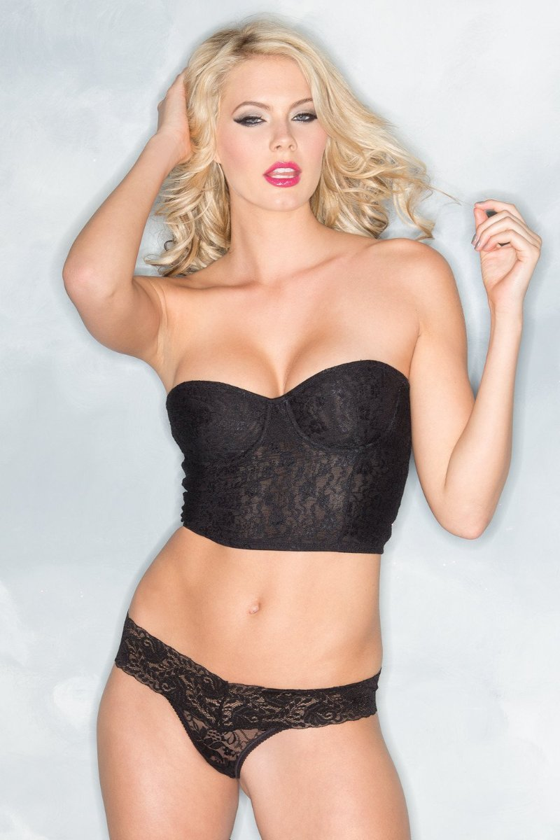 161b8e8d81052 Be Wicked BW1510BK Lace-Cropped Bustier Black – Beverly Hills Hosiery