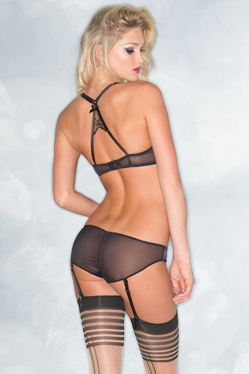 Be Wicked BW1537 2 Piece SET Satin Bra & Panty w/ Garter Straps