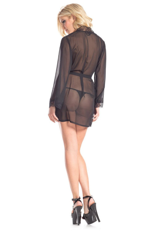 Be Wicked BW1629 Sheer Robe with Lace Collar and Front Tie