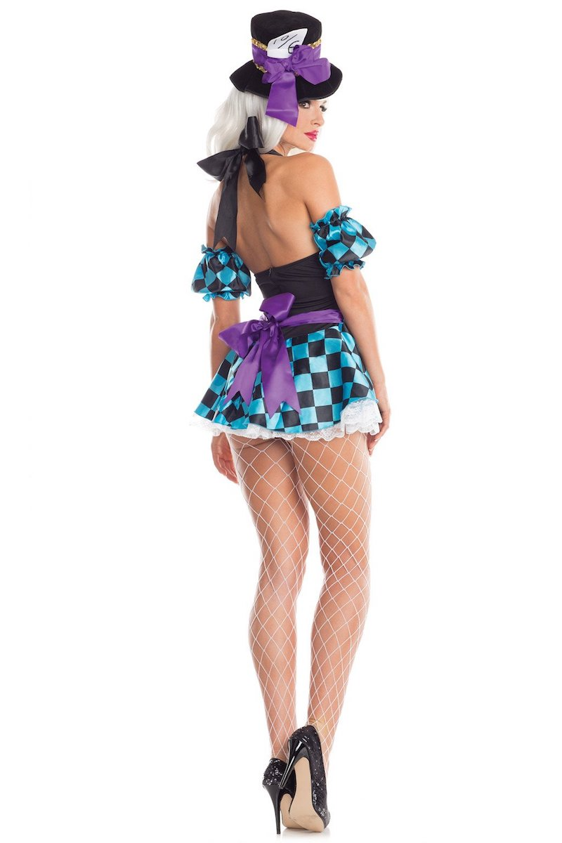 Be Wicked 3 Piece Timeless Hatter Halter Dress Costume BW1658