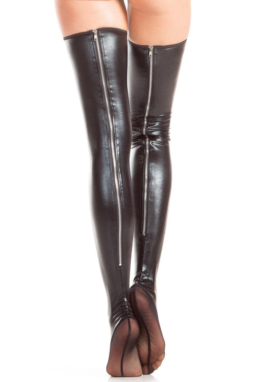 Be Wicked BW409 Wet Look Thigh Hi Zipper Back Seam