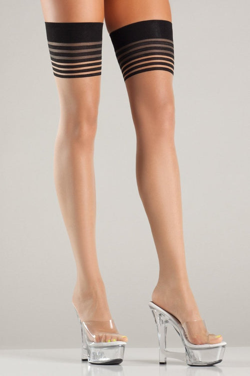 Be Wicked BW712 Multi Stripe Top Thigh Hi with Double Back Seam