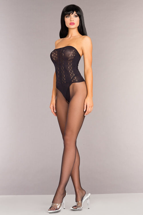 Be Wicked BWB96 Opaque Strapless Bodystocking