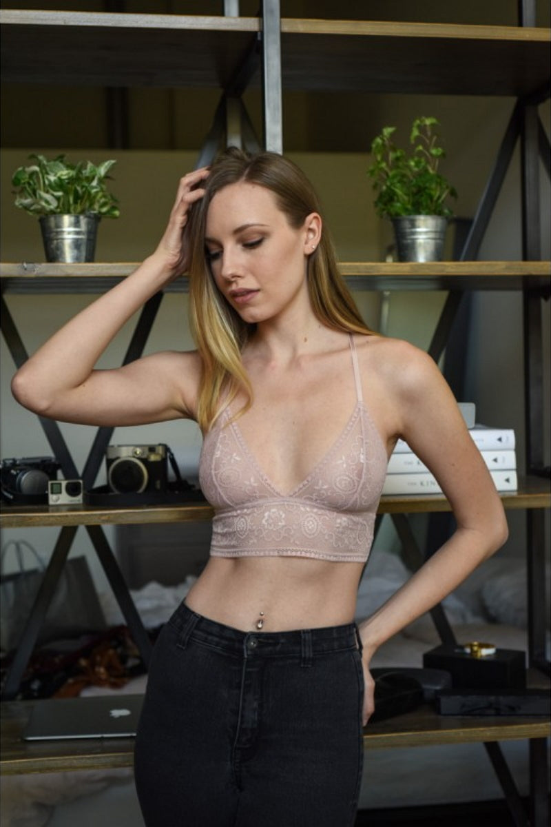 c693c33946 Leto Bralette YL-5394 Chantilly Lace Long Line – Beverly Hills Hosiery