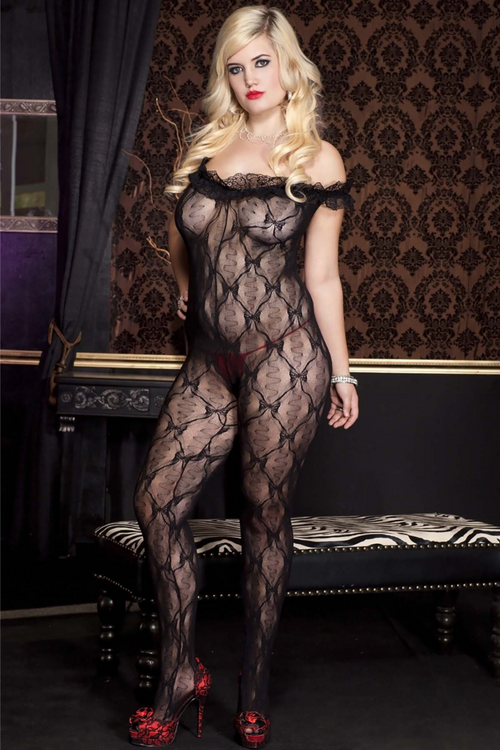 Music Legs 1261Q Lace Ruffle Off the Shoulder Crotchless Bodystocking