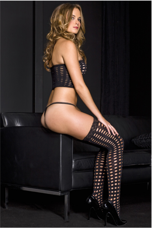 Music Legs 9273 Crochet Ribbon Lace Up Spandex Tube Top with Thigh Highs