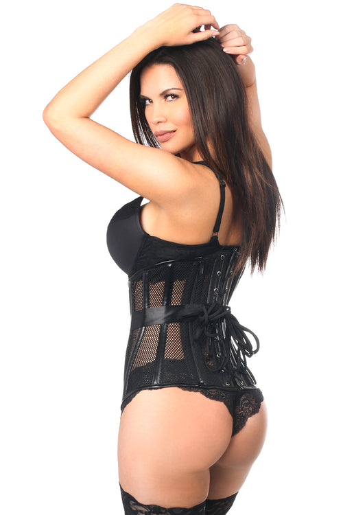 Daisy Corsets TD-350 Top Drawer Fishnet & Faux Leather Steel Boned Underbust Corset