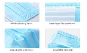 Limited Time Offer!! 3-Layer Basic Disposable Face Protection Mask, 50 Masks
