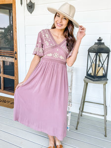 Elaina Embroidered Dress (Dusty Mauve)