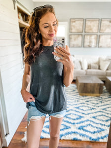 Charcoal Dina Basic Tank Top