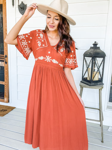 Elaina Embroidered Midi Dress (Rust)