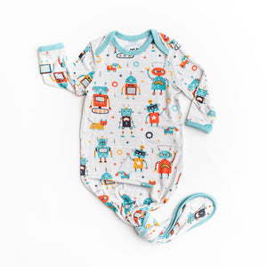 Robot Infant Knotted Bamboo Viscose Gown