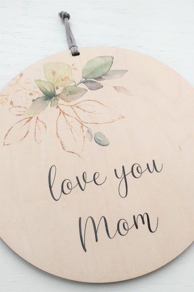 Love you Mom wood wall banner by Urban Nest Decor