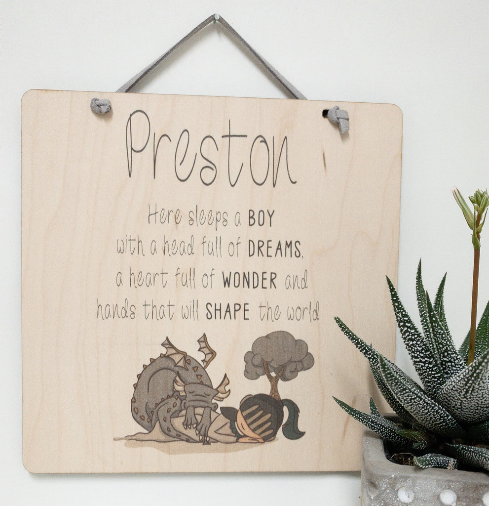 Personalized Quote, Here Sleeps A Boy With A Head Full Of Dreams_urban nest decor