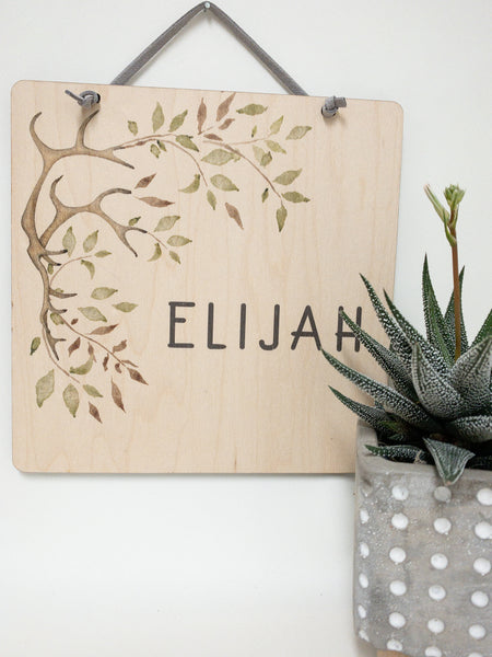 Personalized wall banner with antlers leaves_urban nest decor