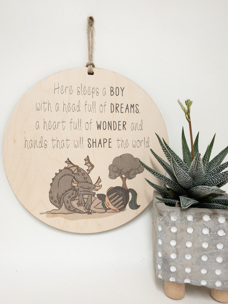 Here sleeps a boy with a head full of dreams_urban nest decor