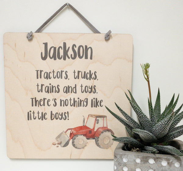 Personalized Quote, Tractors Trucks Trains And Toys, There's Nothing Like Little Boys_urban nest decor