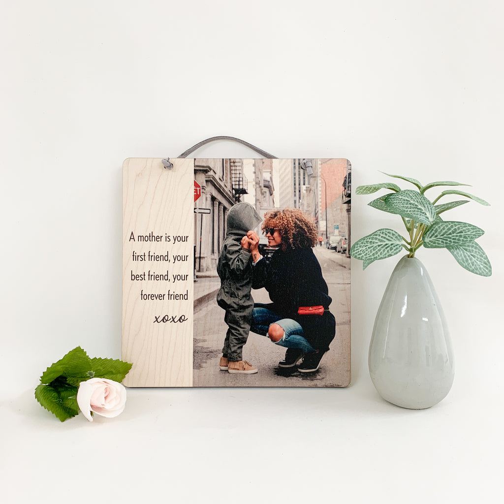 Wood wall plaque for mom. A mother is your first friend, your best friend, your forever friend. Urban Nest Décor