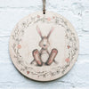 Bunny in Wreath_Print on Wood
