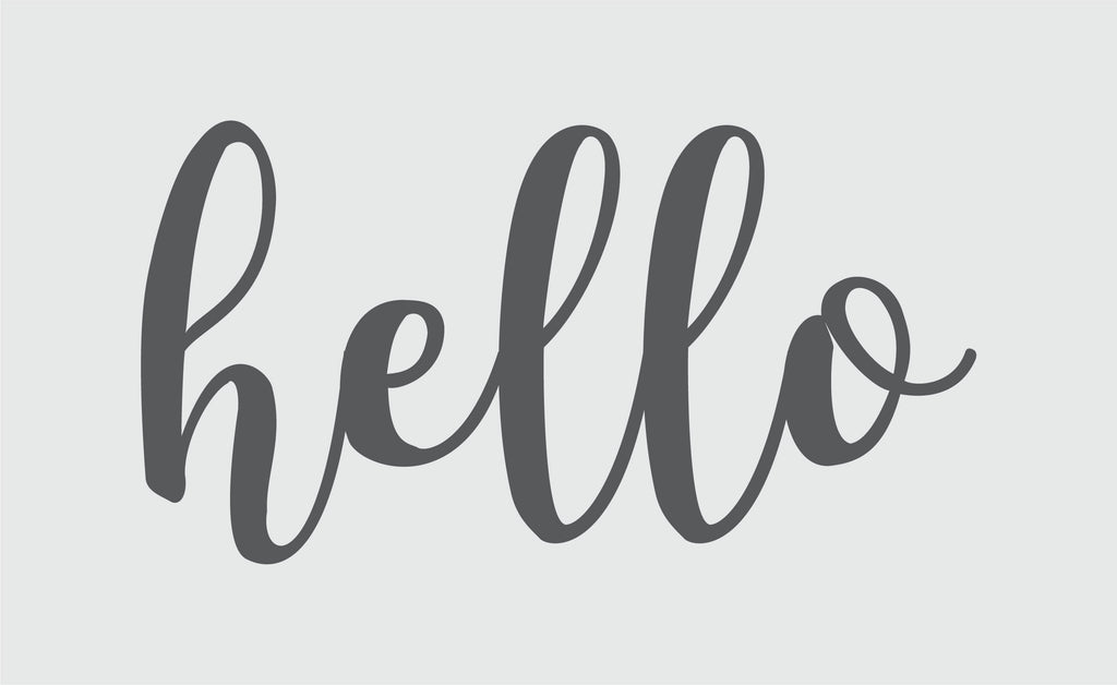 Vinyl decal hello sign for door made by Urban Nest Decor