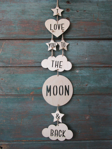 I love you to the moon and back wall mobile by Urban nest Decor