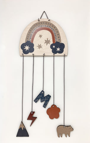 Rainbow Wall Mobile with woodland animals made by Urban Nest Decor