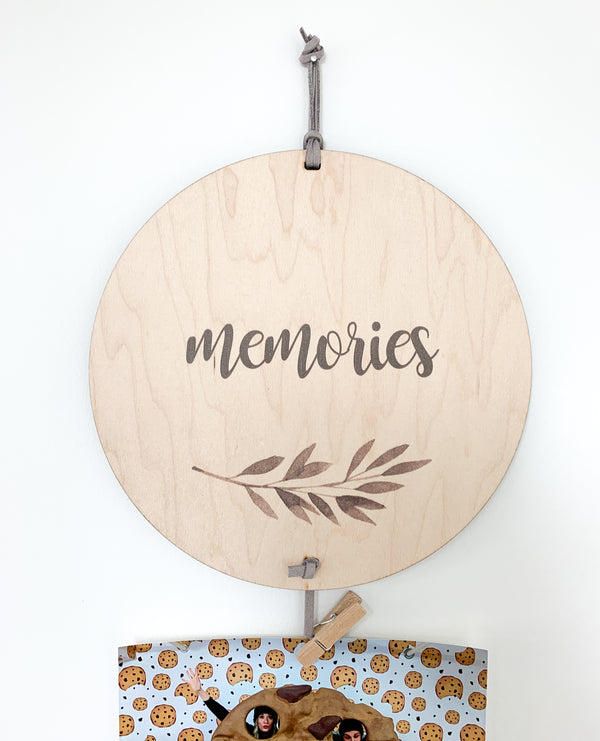Memories Memory Keeper with grey leaf. A perfect way to display your favorite photos with this unique wall hanging