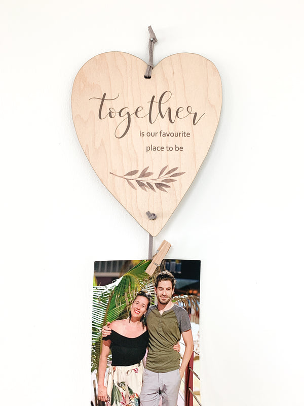 Together Is Our Favourite Place To Be Heart Memory Keeper. A perfect way to display your favorite photos with this unique wall hanging