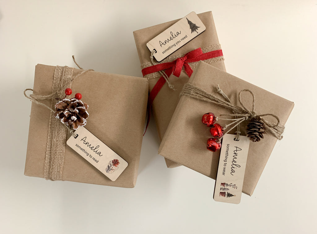 christmas gift tags. something you want, something you need, something to wear, something to read