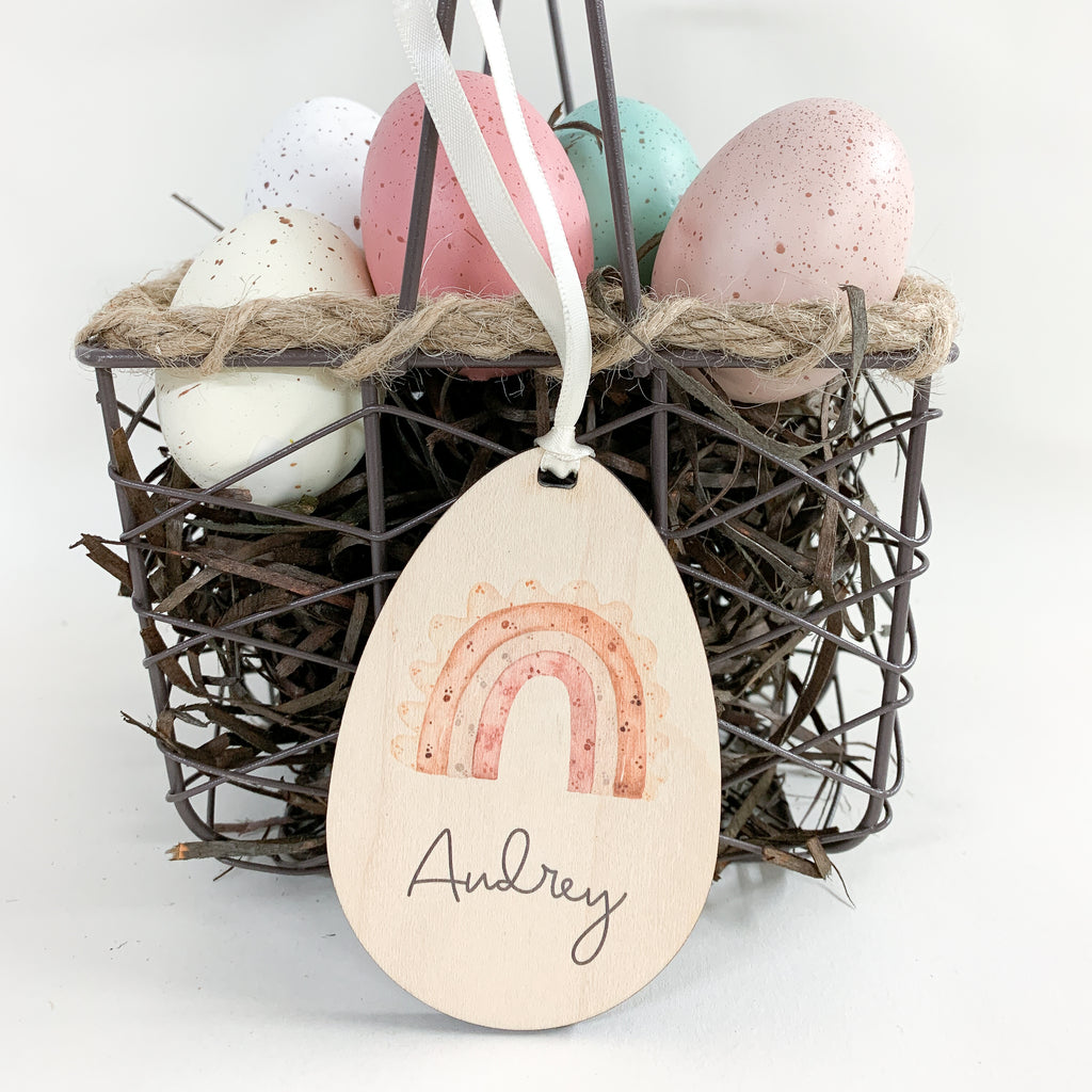 Personalized easter egg gift tag with rainbow, Urban Nest Décor