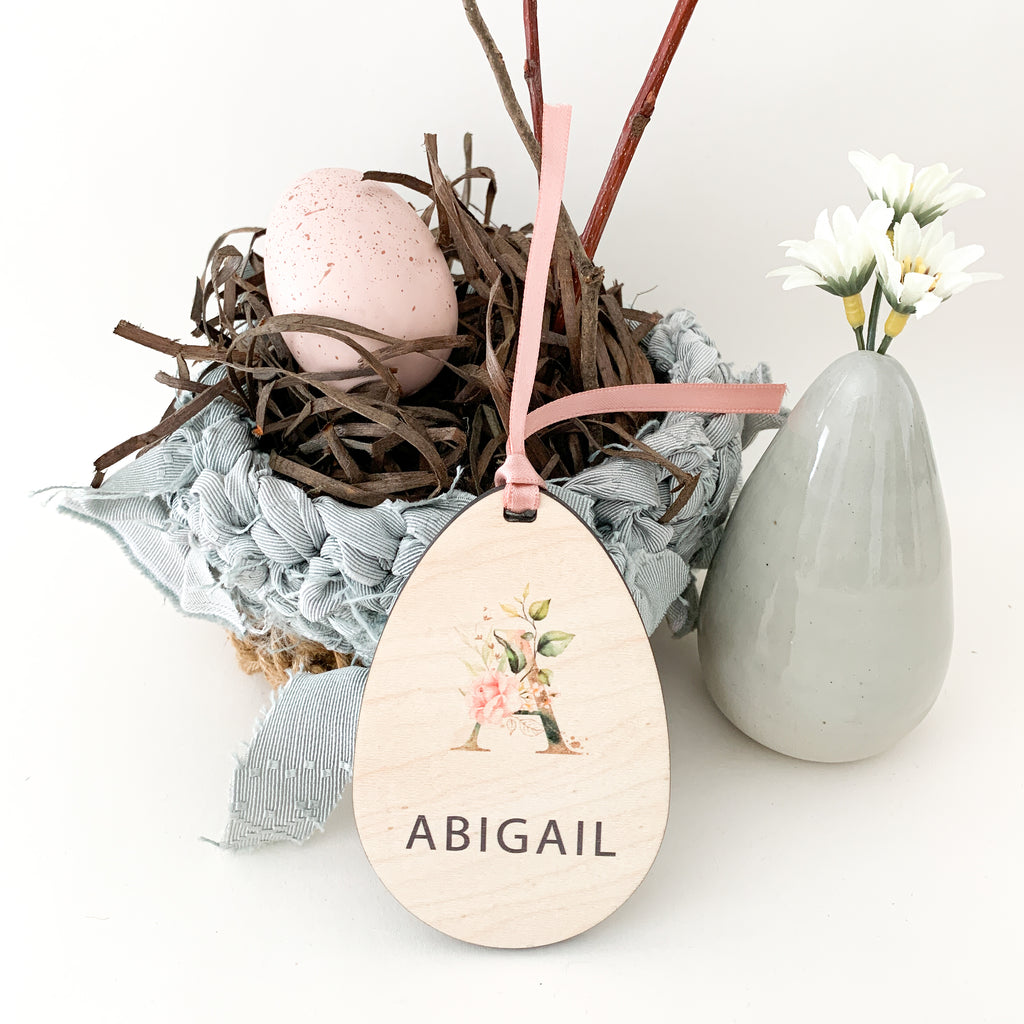 Personalized easter egg gift tag with pink floral inital, Urban Nest Décor