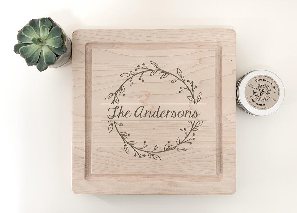 custom engraved maple charcuterie board made by urban nest decor