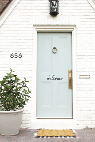 Vinyl decal welcome sign for door made by Urban Nest Decor
