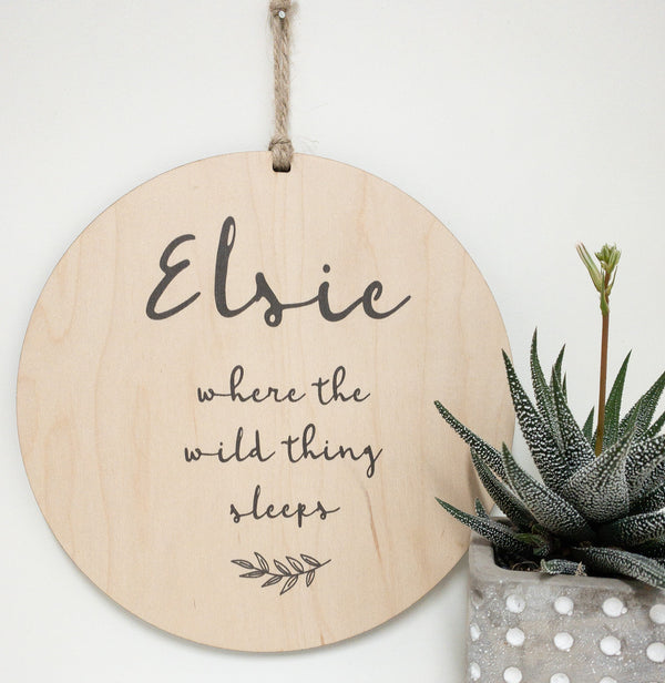 Personalized Quote, Where The Wild Thing Sleeps_urban nest decor