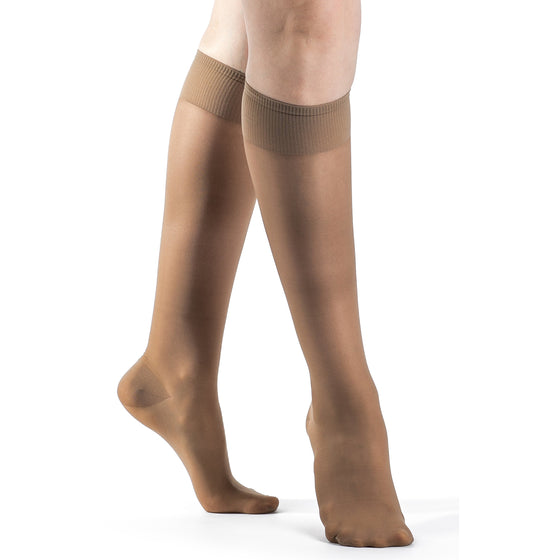 Sigvaris Sheer Fashion Women's 15-20 mmHg Knee High, Cafe