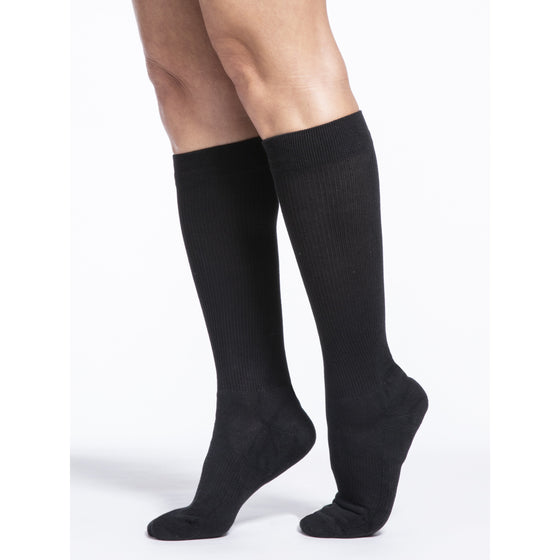 Sigvaris Cushioned Cotton Women's 20-30 mmHg Knee High, Black