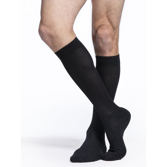 Sigvaris Cushioned Cotton Men's 15-20 mmHg Knee High, Black