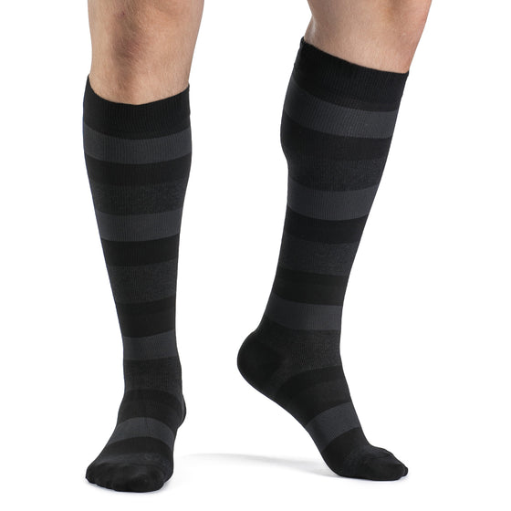 Sigvaris Microfiber Shades Men's 15-20 mmHg Knee High, Onyx Stripe