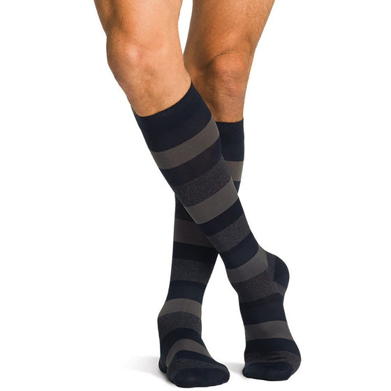 Sigvaris Microfiber Shades Men's 15-20 mmHg Knee High, Dark Navy Stripe