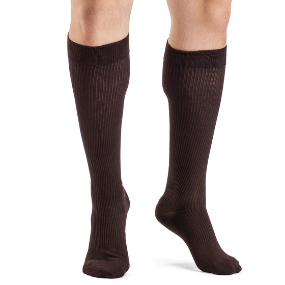 Sigvaris Casual Cotton Men's 15-20mmHg Knee High, Brown