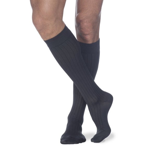 Sigvaris Business Casual Men's 15-20 mmHg Knee High, Charcoal