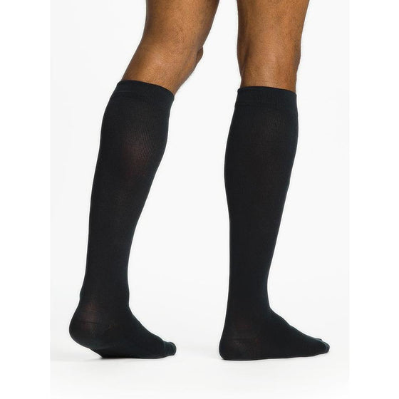 Sigvaris Sea Island Cotton Men's 20-30 mmHg Knee High, Navy