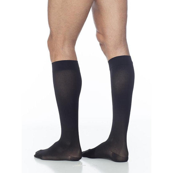Sigvaris Cotton Men's 20-30 mmHg Knee High, Black Mist