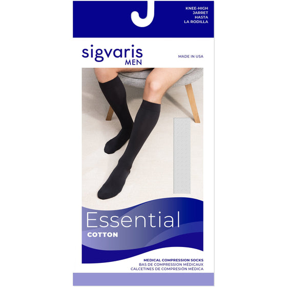 Sigvaris Cotton Men's 30-40 mmHg Knee High w/ Silicone Band Grip Top
