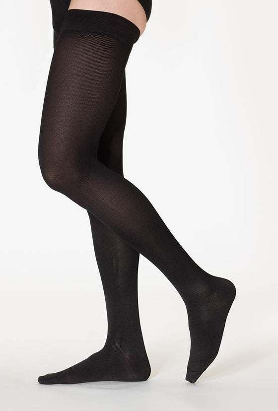 Sigvaris Cotton Women's 20-30 mmHg Thigh High, Black