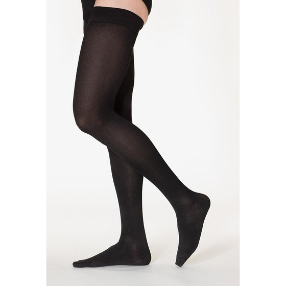 Sigvaris Cotton Women's 30-40 mmHg Thigh High, Black