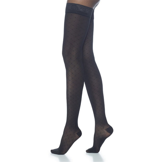 Sigvaris Patterns Women's 15-20 mmHg Thigh High, Graphite