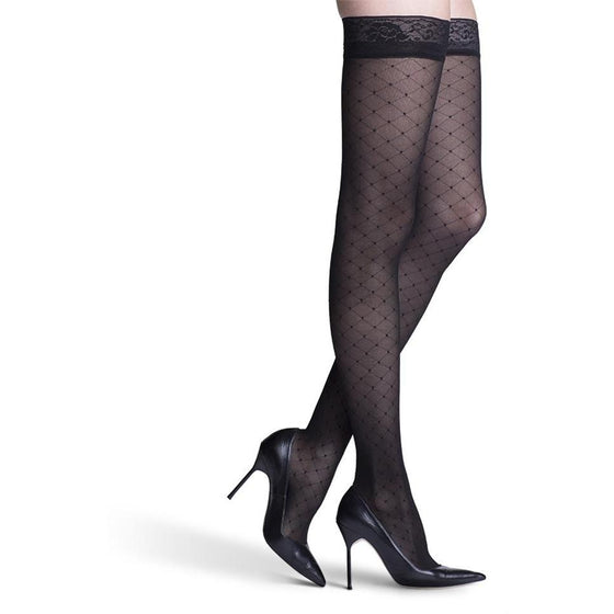 Sigvaris Patterns Women's 20-30 mmHg Thigh High, Black